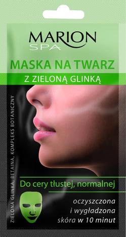 Marion Spa Maska na twarz z zieloną glinką do cery normalnej i tłustej na tkaninie 15 ml