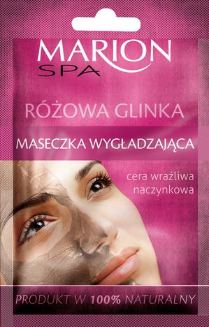 Marion Spa Różowa Glinka Maseczka wygładzająca do cery wrażliwej i naczynkowej 8g