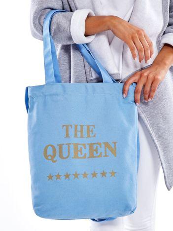 Materiałowa niebieska torba z nadrukiem THE QUEEN