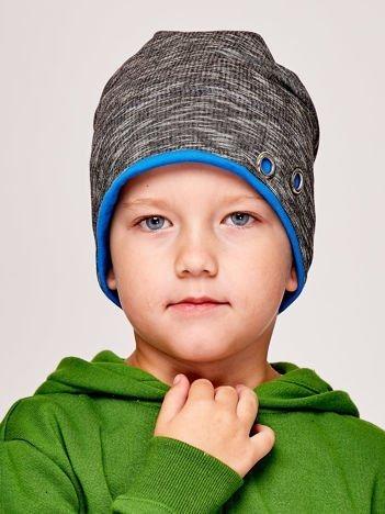 Melanżowa czapka chłopięca z nitami grafitowo-ciemnoniebieska