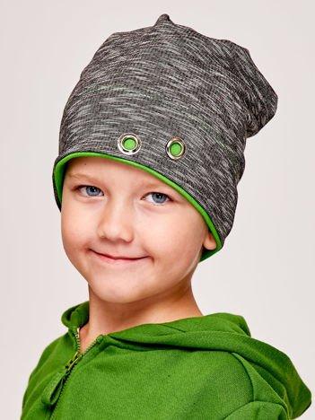 Melanżowa czapka chłopięca z nitami grafitowo-zielona