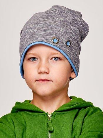 Melanżowa czapka chłopięca z nitami szaro-niebieska