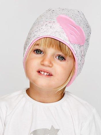 Melanżowa czapka dziewczęca z naszytym sercem szaro-budyniowa