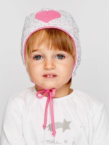 Melanżowa czapka dziewczęca z sercem i wiązaniem szaro-różowa