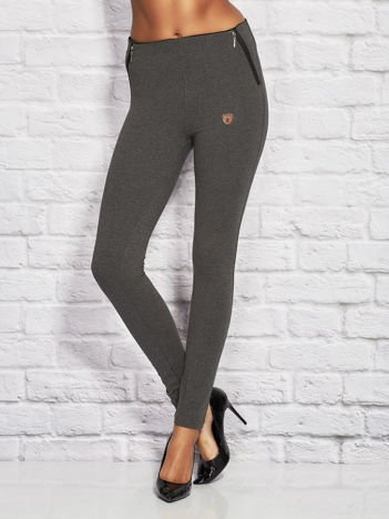 Melanżowe legginsy damskie z suwakami ciemnoszare