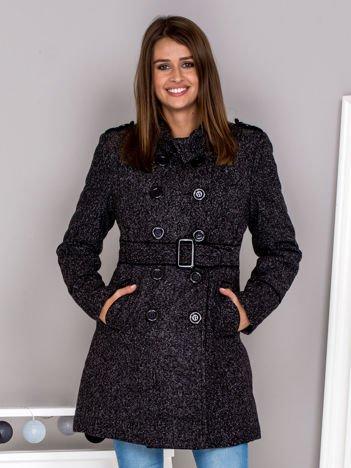 Melanżowy dwurzędowy płaszcz z paskiem czarny