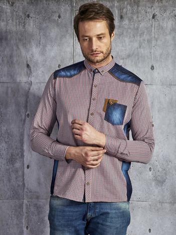 Męska koszula w drobną kratę ze wstawkami granatowo-czerwona