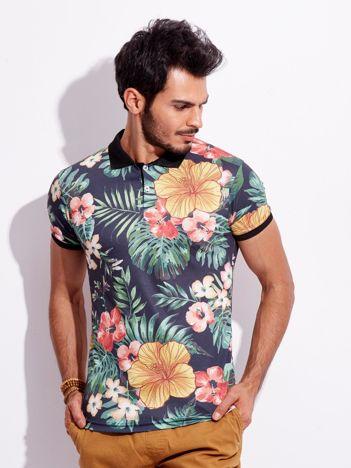 Męska koszulka polo w kwiaty czarna