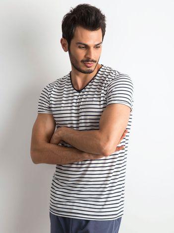 Męska koszulka w paski biało-granatowa