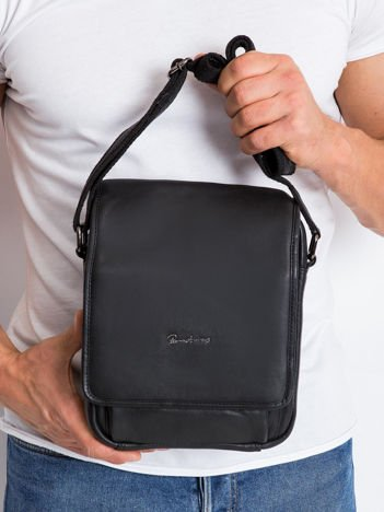 Męska skórzana torba czarna