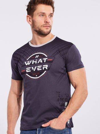 Męski bawełniany t-shirt z printem granatowy