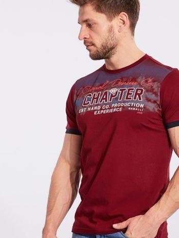 Męski t-shirt bawełniany bordowy
