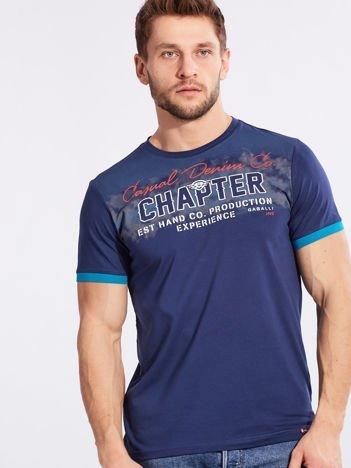 Męski t-shirt bawełniany ciemnoniebieski