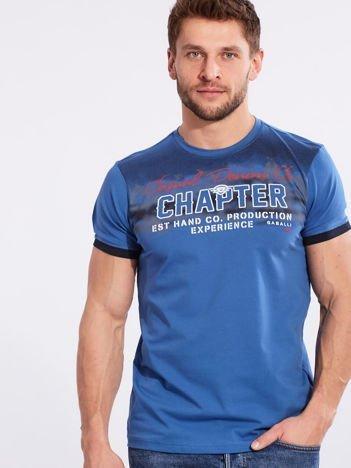 Męski t-shirt bawełniany niebieski