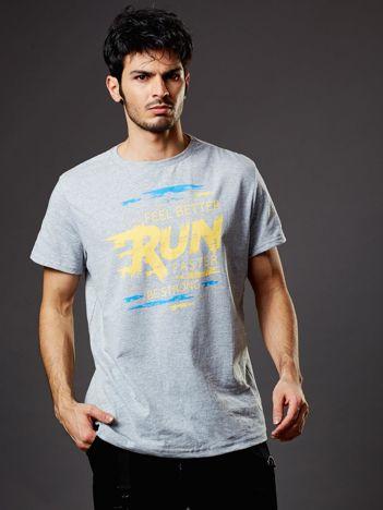 Męski t-shirt jasnoszary Run