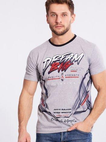Męski t-shirt z bawełny szary