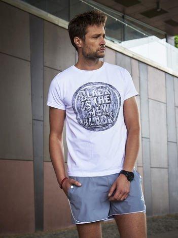 Męski t-shirt z motywem urban print biały