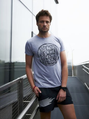 Męski t-shirt z motywem urban print szary