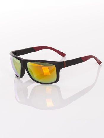 Męskie czarne matowe okulary przeciwsłoneczne w SPORTOWYM SYTLU