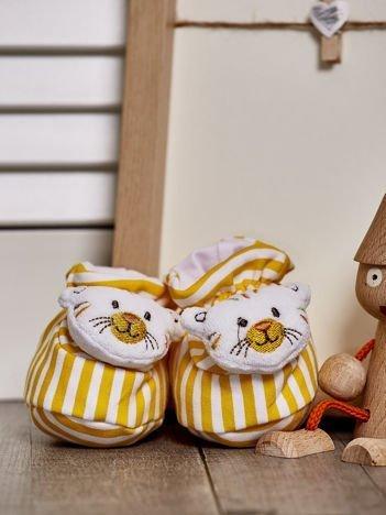 Miękkie buciki dziecięce w paski z ozdobnym kotkiem żółte