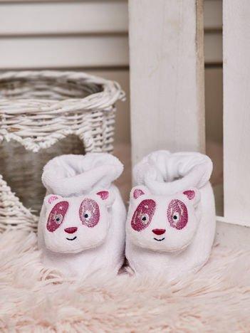 Miękkie buciki dziecięce z pandą na nosku białe