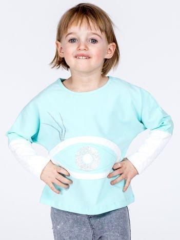 Miętowa bawełniana bluza dziewczęca z okiem i pikowaniem