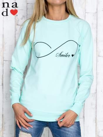 Miętowa bluza z napisem SMILER
