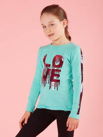 Miętowa bluzka dziecięca z cekinami