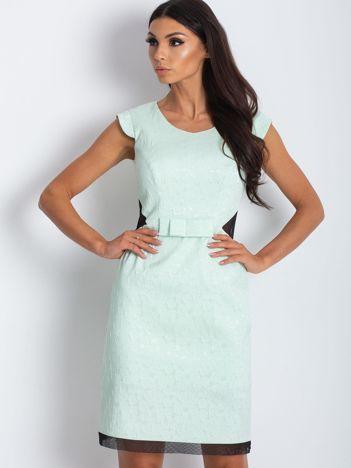 Miętowa elegancka sukienka