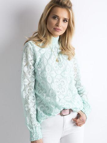 Miętowa koronkowa bluzka
