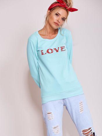 Miętowa lekka bluza z napisem LOVE