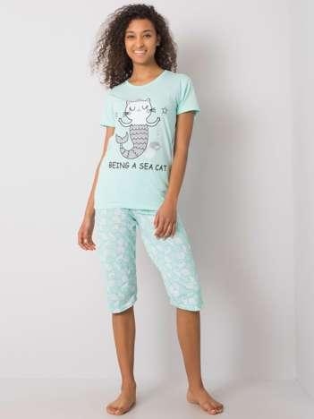 Miętowa piżama damska z nadrukiem