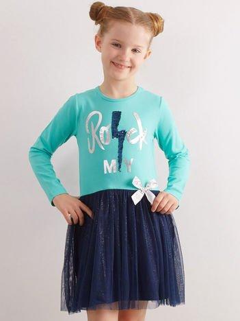 Miętowa sukienka z bawełny dla dziewczynki