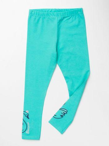 Miętowe legginsy dla dziewczynki z aplikacją