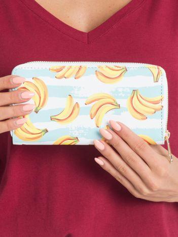 Miętowo-biały portfel w banany