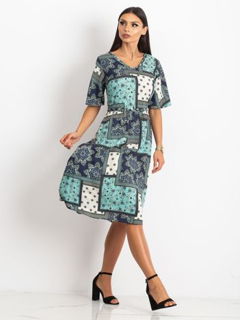 Miętowo-granatowa sukienka Calm