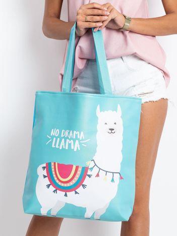 Miętowo-niebieska torba z nadrukiem