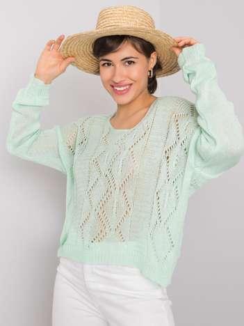 Miętowy sweter ażurowy Maurissa