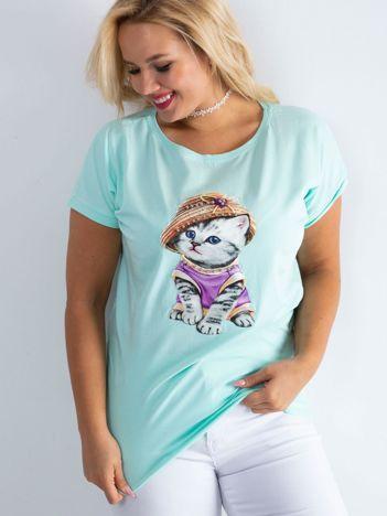 Miętowy t-shirt Glory PLUS SIZE