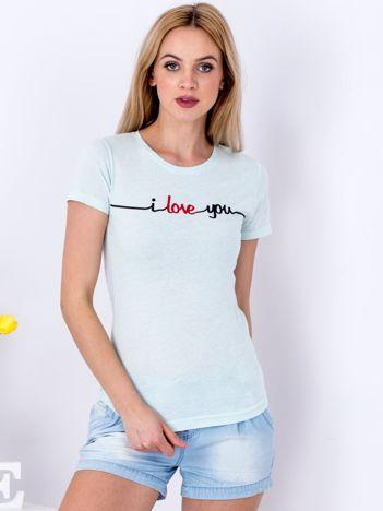 Miętowy t-shirt I LOVE YOU
