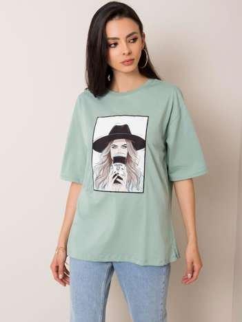 Miętowy t-shirt Madame RUE PARIS