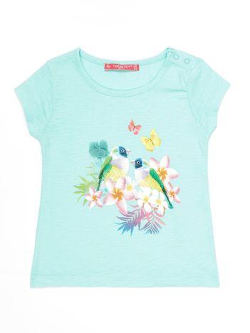 Miętowy t-shirt dla dziewczynki z egzotycznym nadrukiem i cekinami