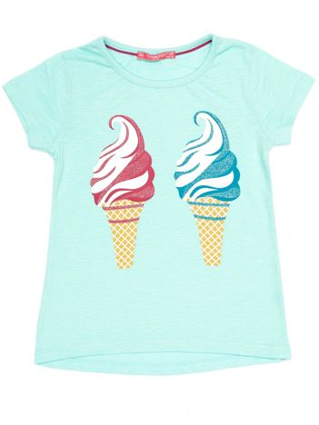 Miętowy t-shirt dziewczęcy z lodami