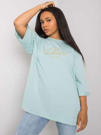 Miętowy t-shirt plus size Olette RUE PARIS