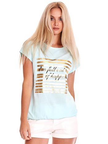 Miętowy t-shirt ze złotym printem