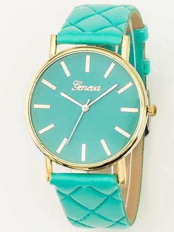 Miętowy zegarek damski na pikowanym pasku
