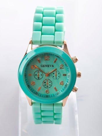 Miętowy zegarek damski z silikonowym paskiem