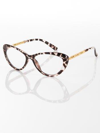 Modne  okulary zerówki typu KOCIE OCZY w stylu Marlin Monroe; soczewki ANTYREFLEKS