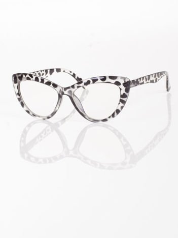 Modne okulary zerówki typu KOCIE OCZY w stylu Marlin Monroe;soczewki ANTYREFLEKS+system FLEX na zausznikach
