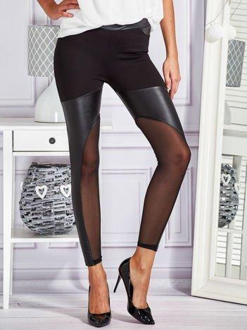 Modułowe legginsy ze wstawkami z ekoskóry czarne